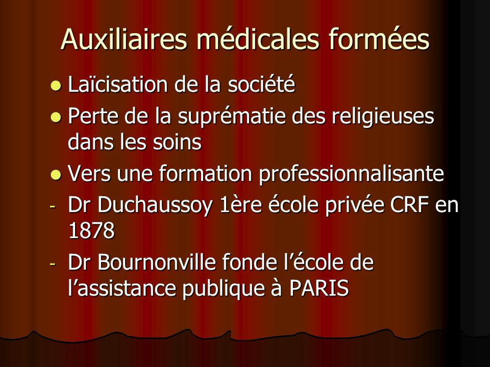 Auxiliaires médicales formées