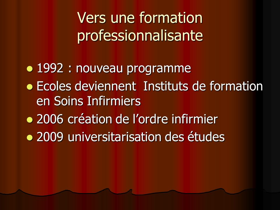 Vers une formation professionnalisante