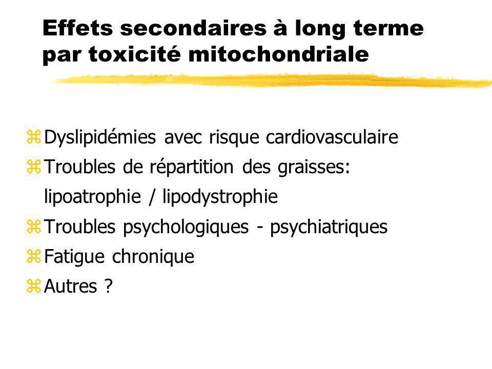 Effets secondaires à long terme par toxicité mitochondriale
