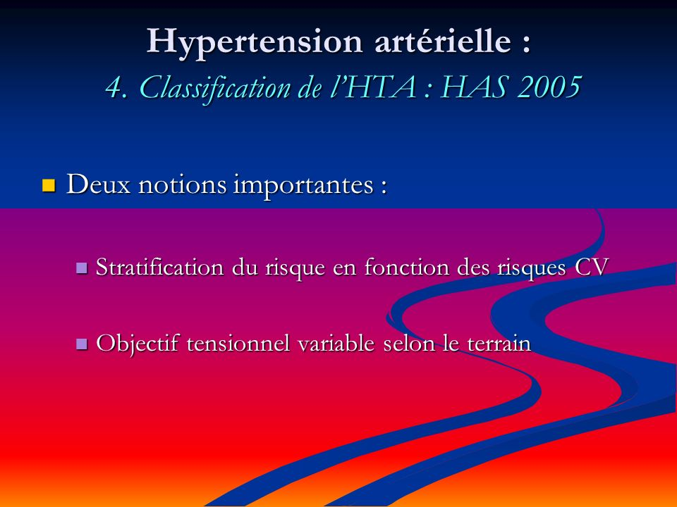 Hypertension artérielle : 4. Classification de l'HTA : HAS 2005