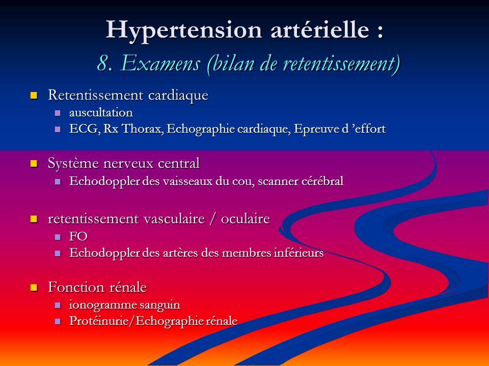 Hypertension artérielle : 8. Examens (bilan de retentissement)