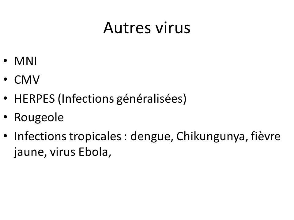 Autres virus MNI CMV HERPES (Infections généralisées) Rougeole