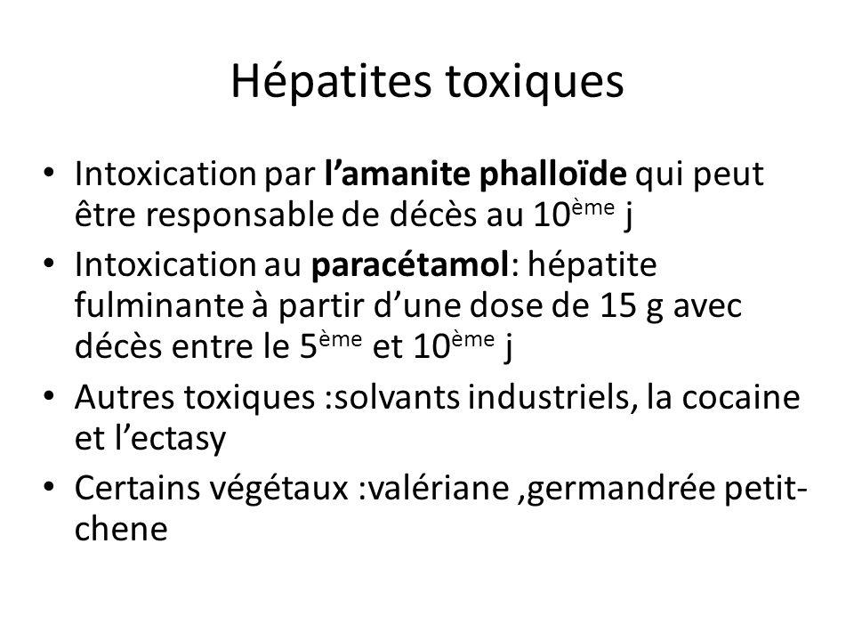 Hépatites toxiques Intoxication par l'amanite phalloïde qui peut être responsable de décès au 10ème j.
