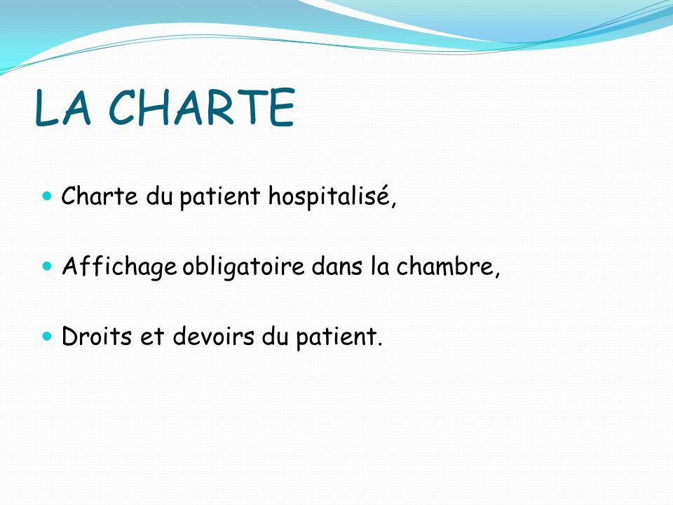 LA CHARTE Charte du patient hospitalisé,