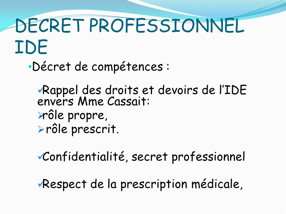 DECRET PROFESSIONNEL IDE