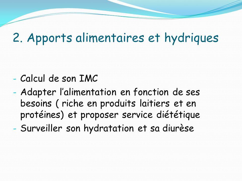2. Apports alimentaires et hydriques