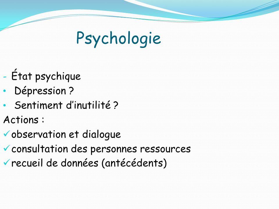 Psychologie État psychique Dépression Sentiment d'inutilité