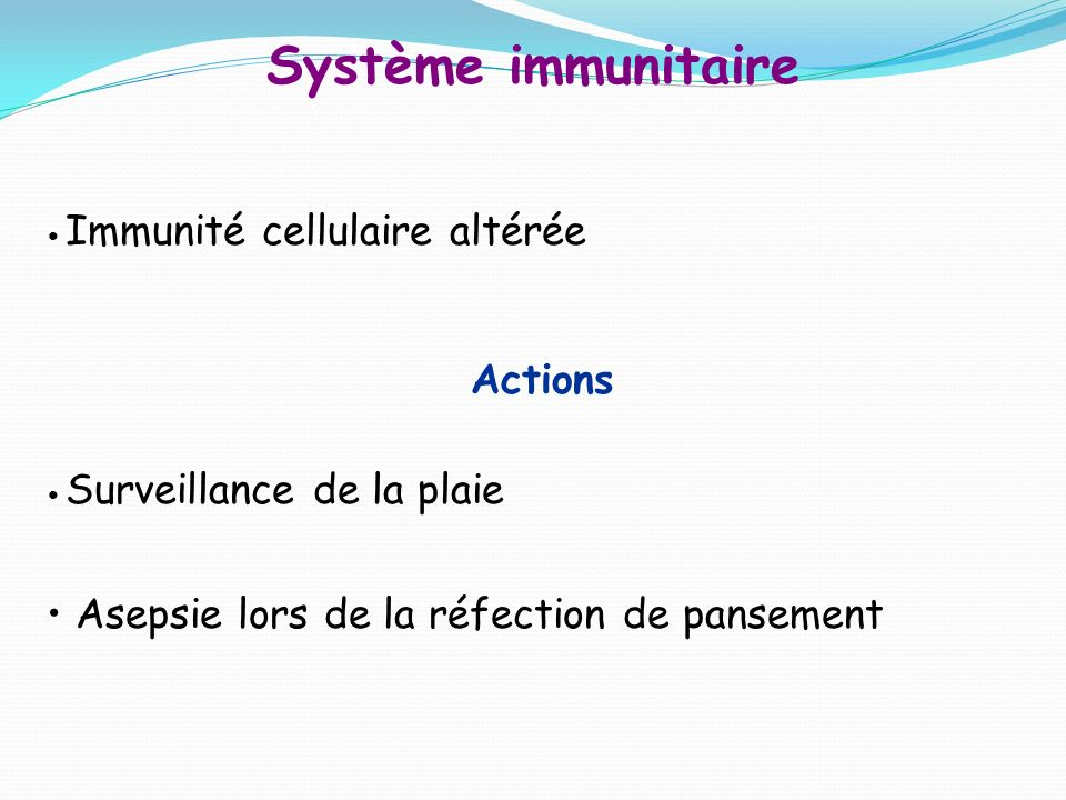 Système immunitaire Actions Asepsie lors de la réfection de pansement