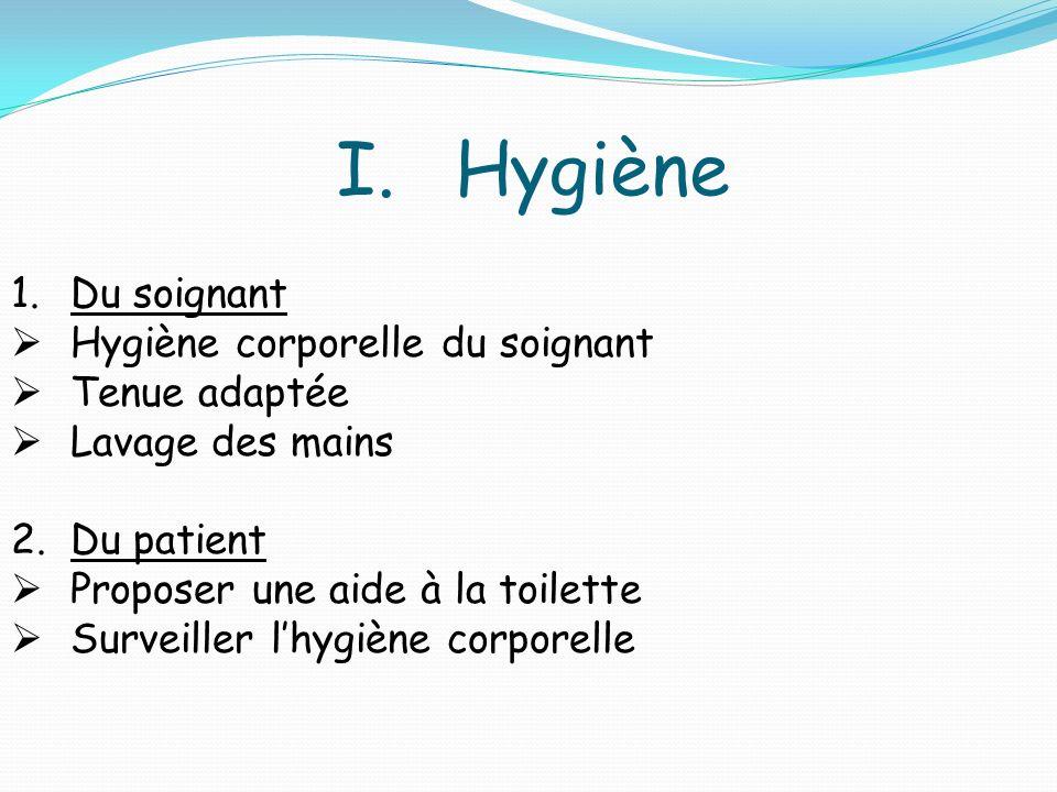 Hygiène Du soignant Hygiène corporelle du soignant Tenue adaptée