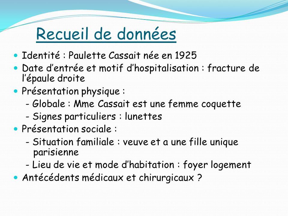 Recueil de données Identité : Paulette Cassait née en 1925