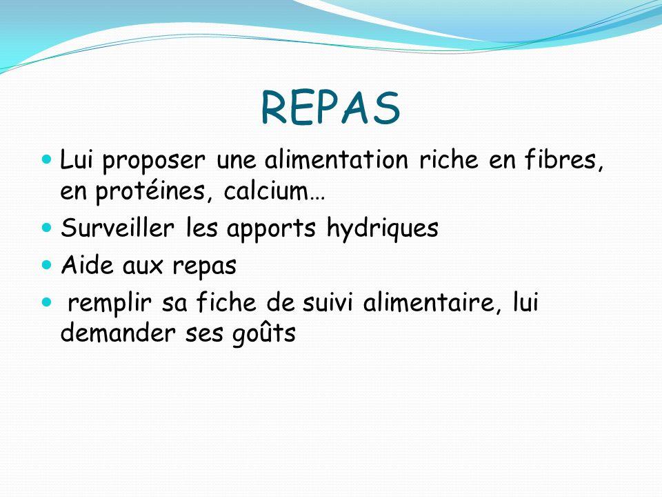 REPAS Lui proposer une alimentation riche en fibres, en protéines, calcium… Surveiller les apports hydriques.