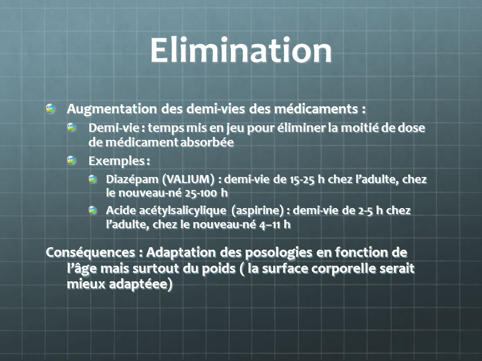 Elimination Augmentation des demi-vies des médicaments :