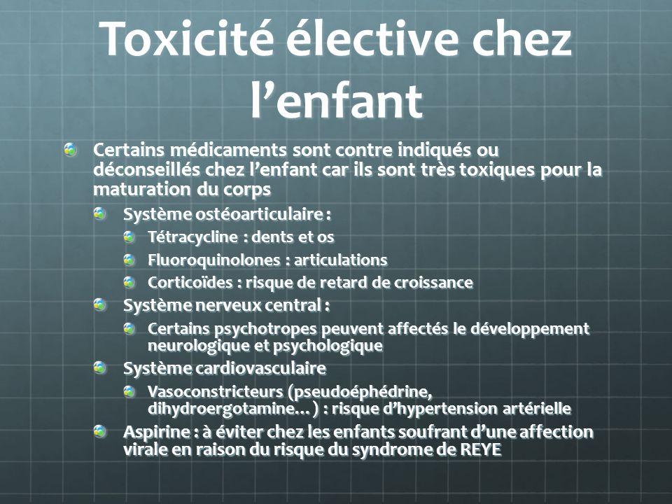Toxicité élective chez l'enfant