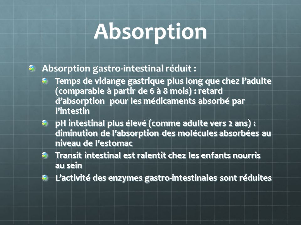 Absorption Absorption gastro-intestinal réduit :