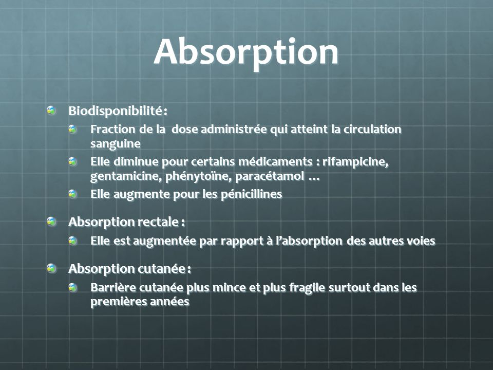 Absorption Biodisponibilité : Absorption rectale :