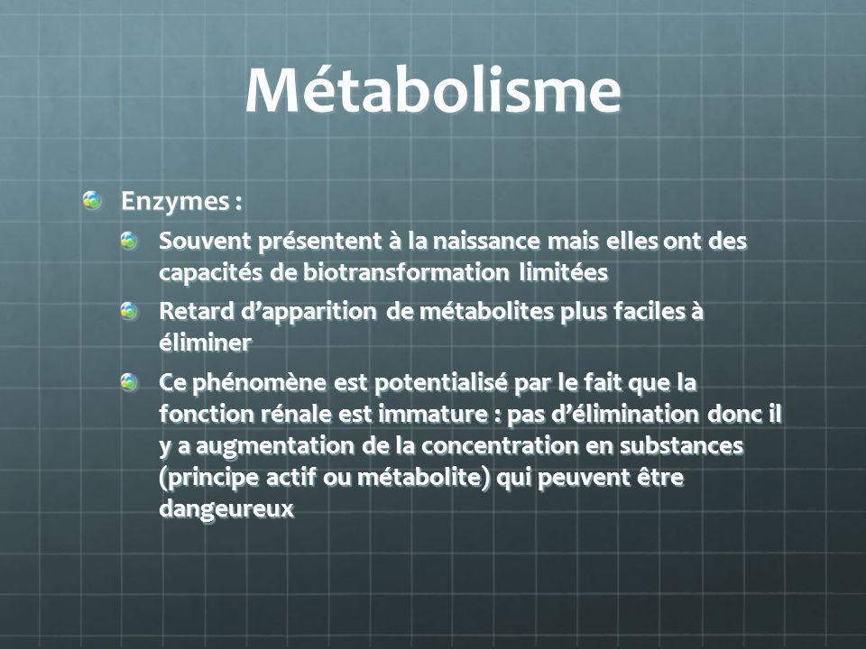 Métabolisme Enzymes : Souvent présentent à la naissance mais elles ont des capacités de biotransformation limitées.