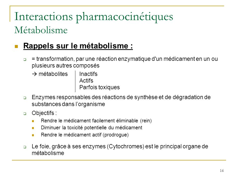 Interactions pharmacocinétiques Métabolisme
