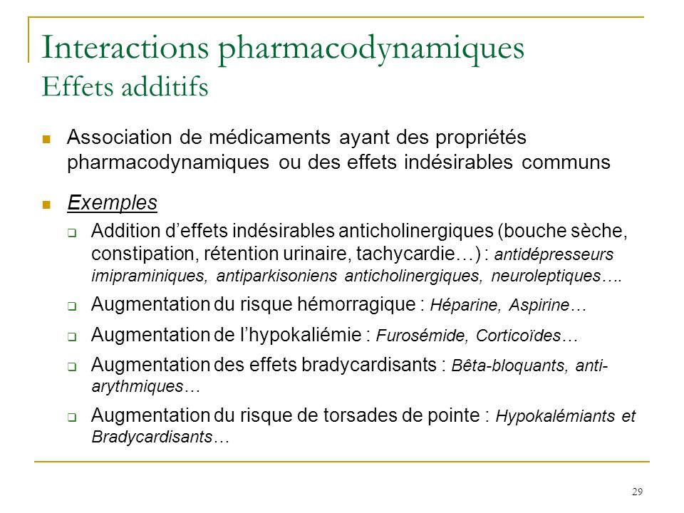Interactions pharmacodynamiques Effets additifs