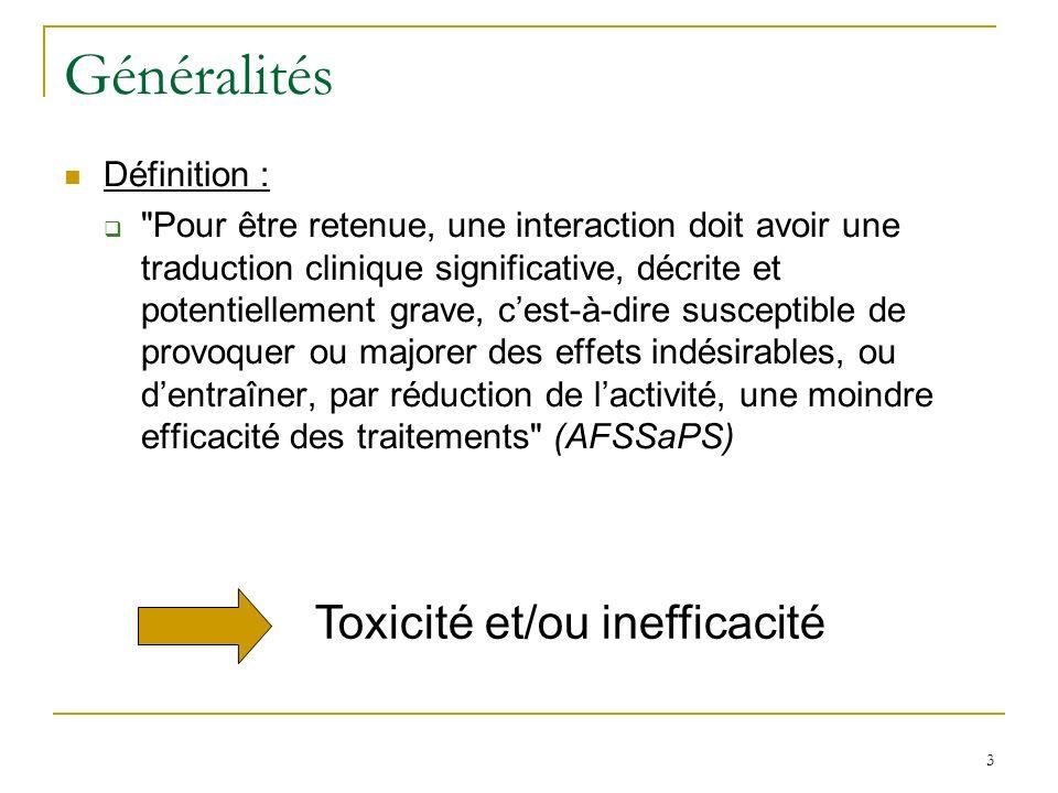 Généralités Toxicité et/ou inefficacité Définition :