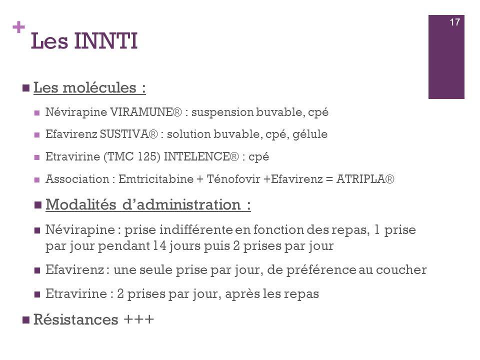Les INNTI Les molécules : Modalités d'administration : Résistances +++