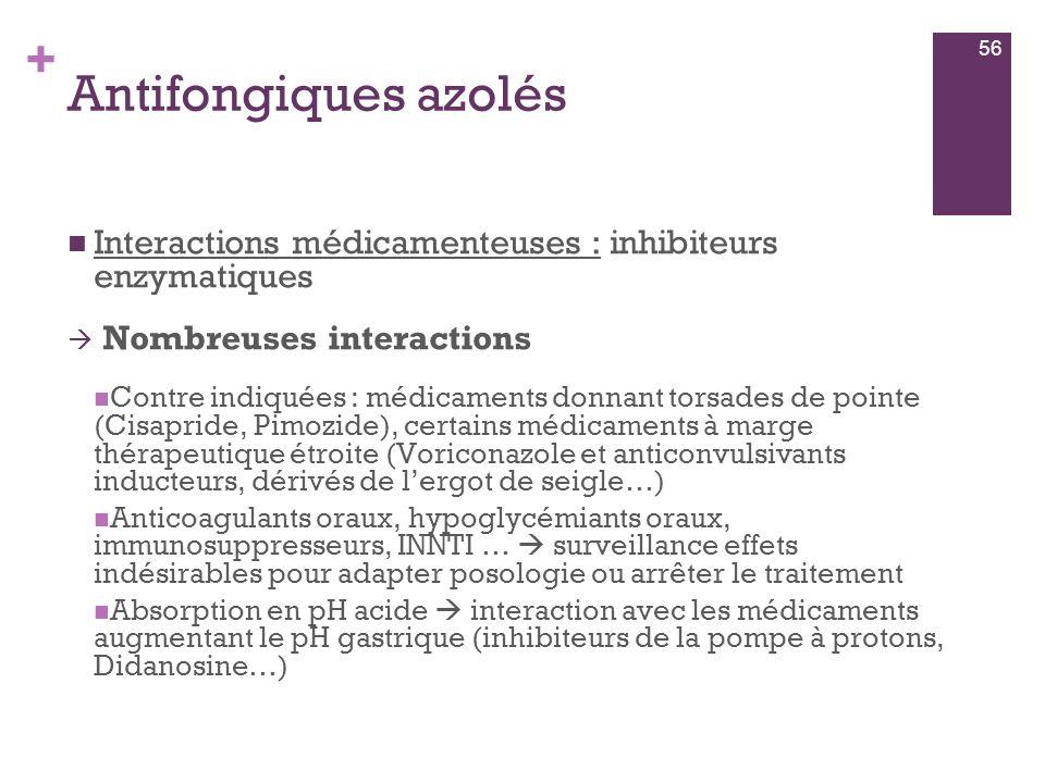 Antifongiques azolés Interactions médicamenteuses : inhibiteurs enzymatiques. Nombreuses interactions.