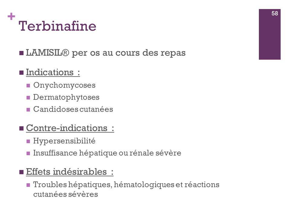 Terbinafine LAMISIL® per os au cours des repas Indications :