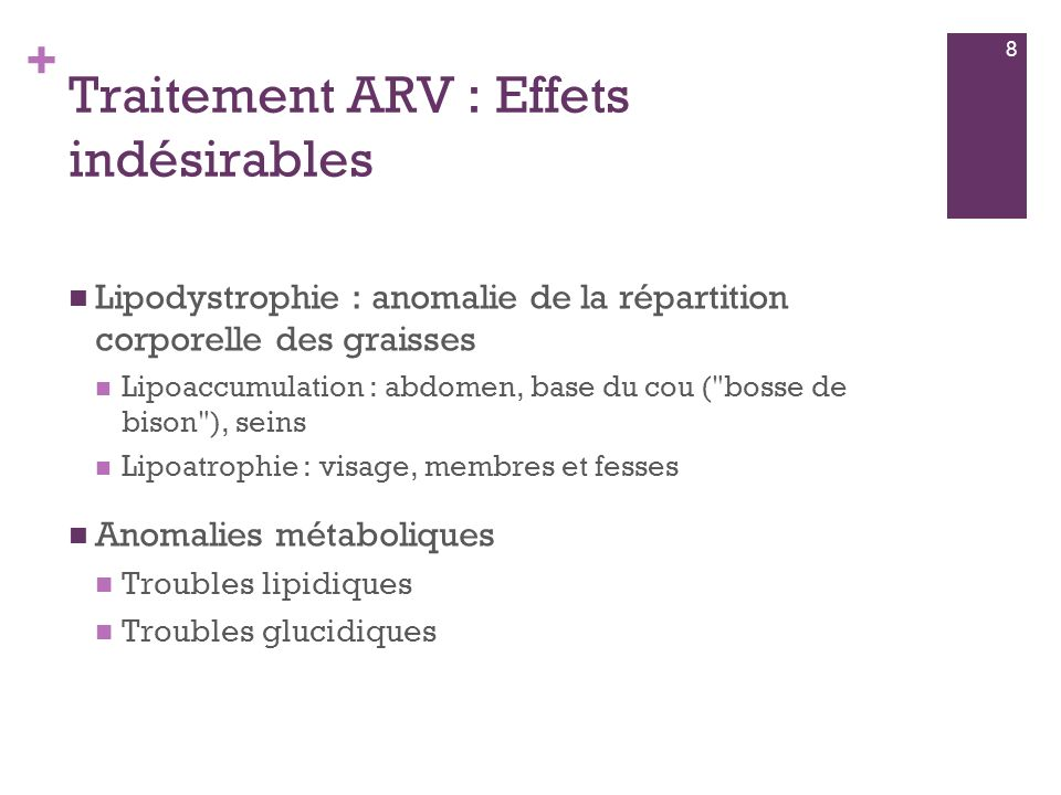 Traitement ARV : Effets indésirables