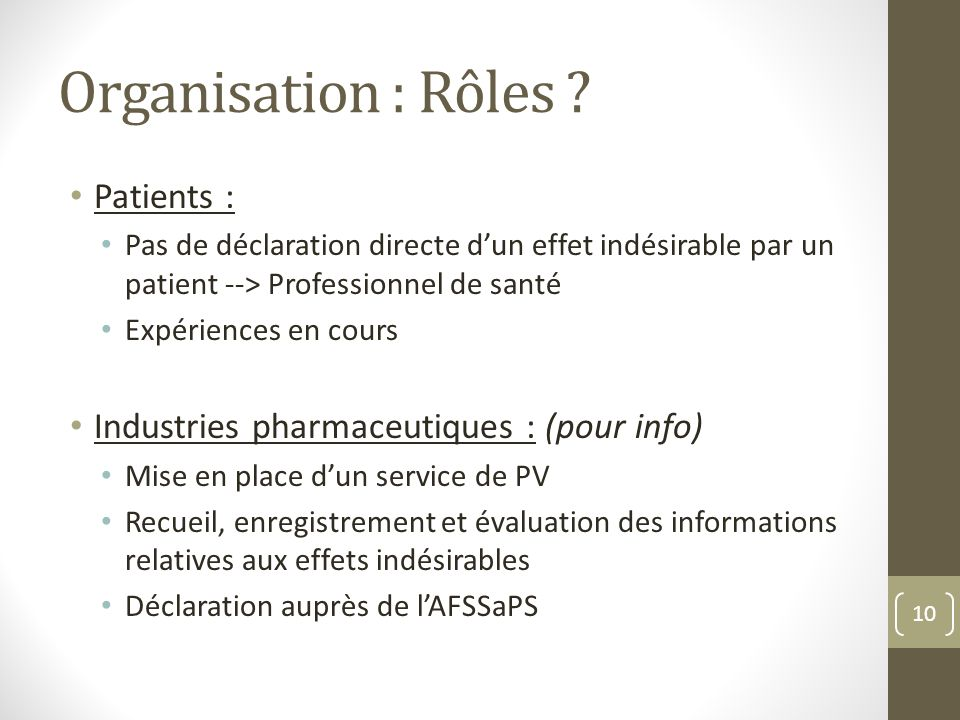 Organisation : Rôles Patients :