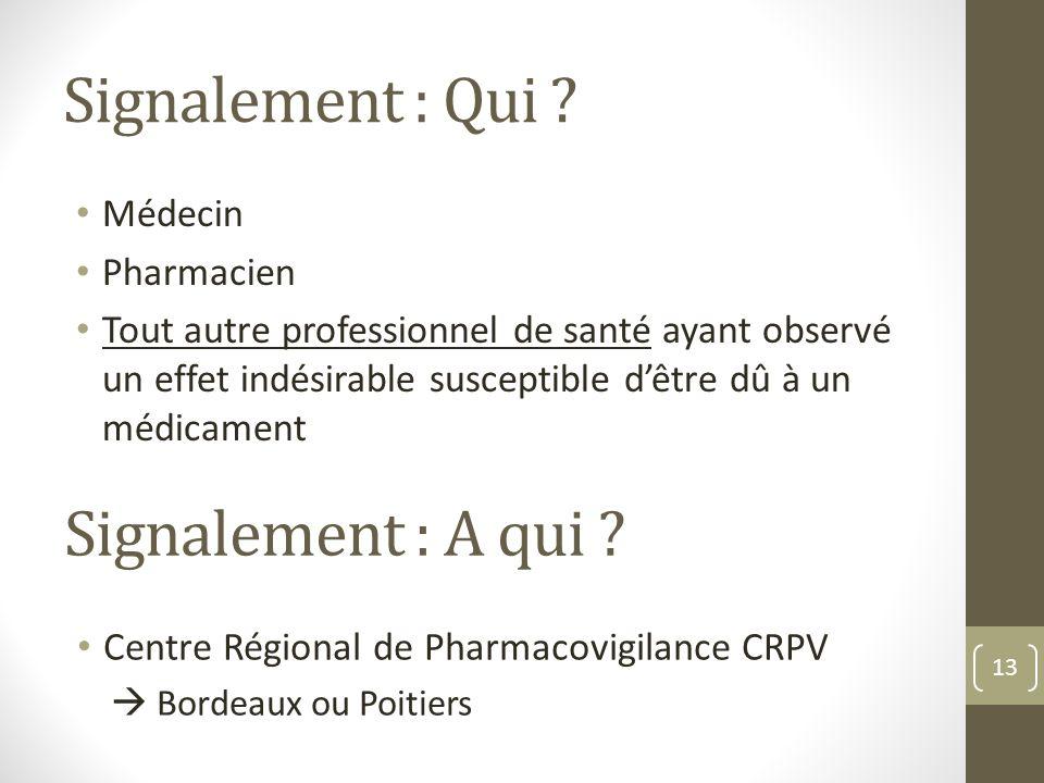 Signalement : Qui Signalement : A qui Médecin Pharmacien