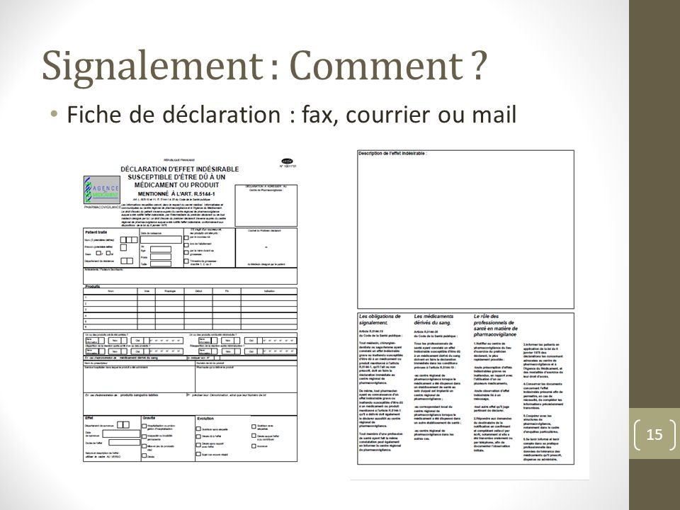 Signalement : Comment Fiche de déclaration : fax, courrier ou mail