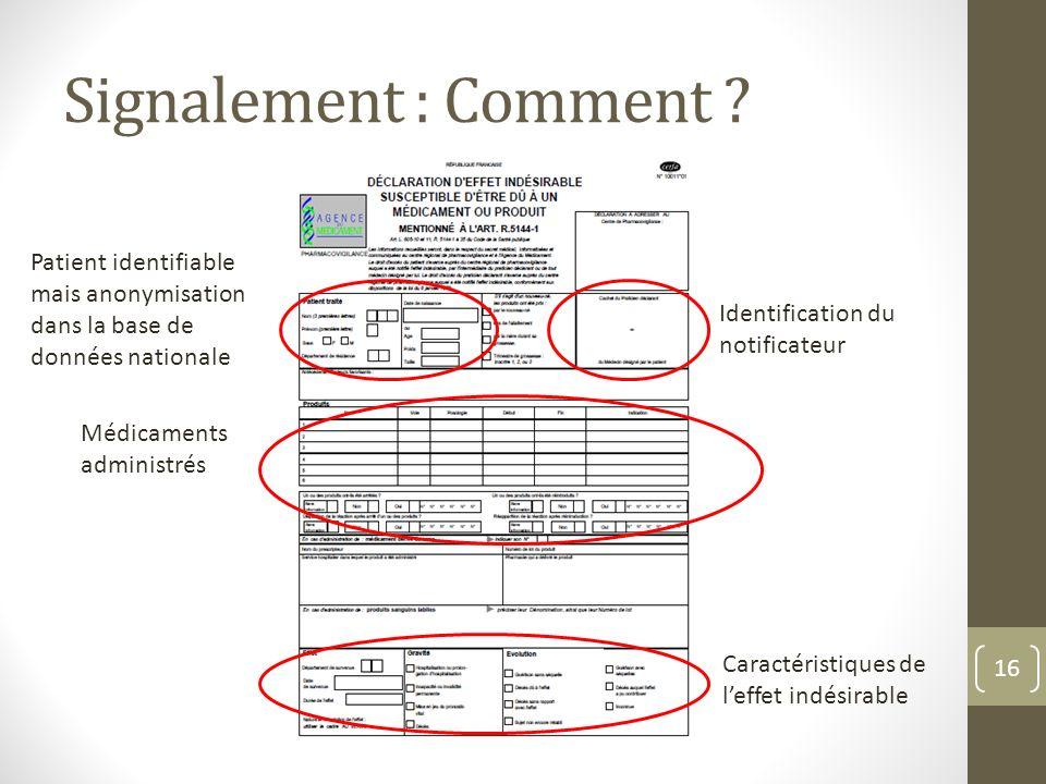 Signalement : Comment Patient identifiable mais anonymisation dans la base de données nationale. Identification du notificateur.