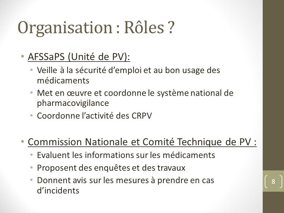 Organisation : Rôles AFSSaPS (Unité de PV):