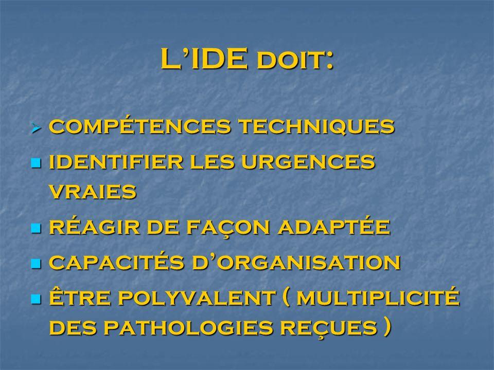 L'IDE doit: compétences techniques identifier les urgences vraies