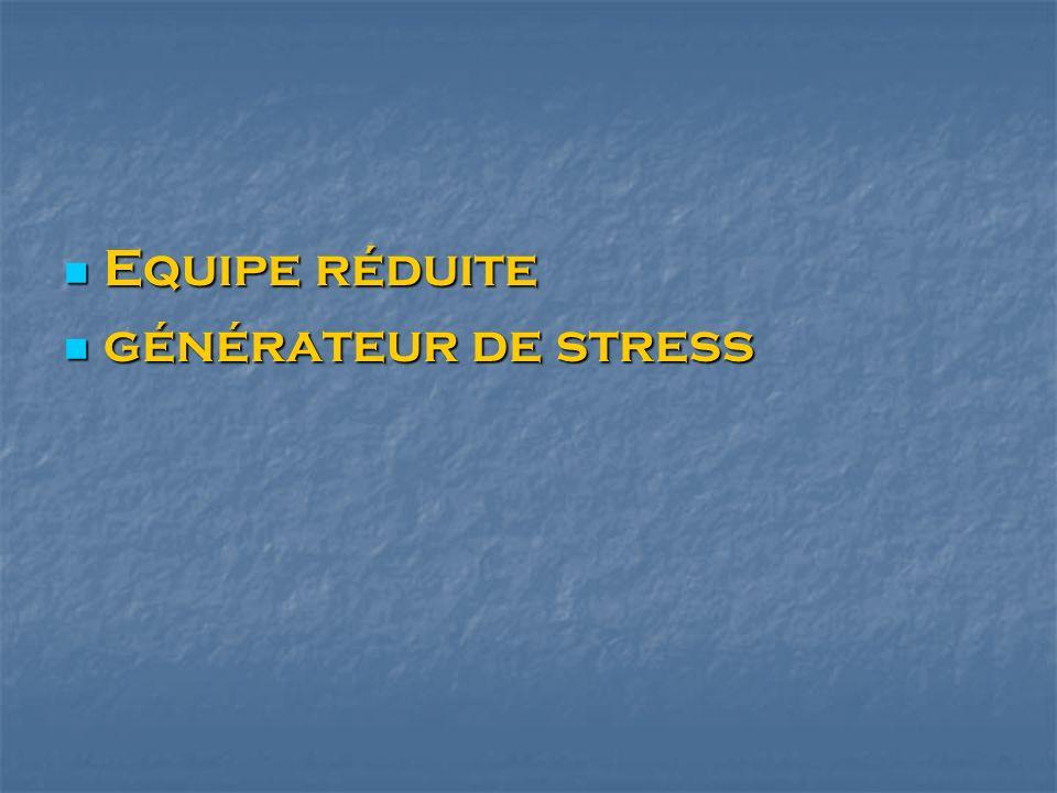 Equipe réduite générateur de stress