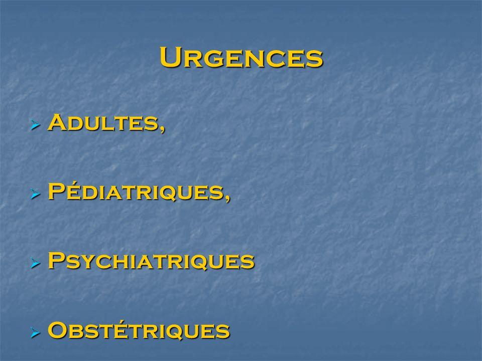 Urgences Adultes, Pédiatriques, Psychiatriques Obstétriques