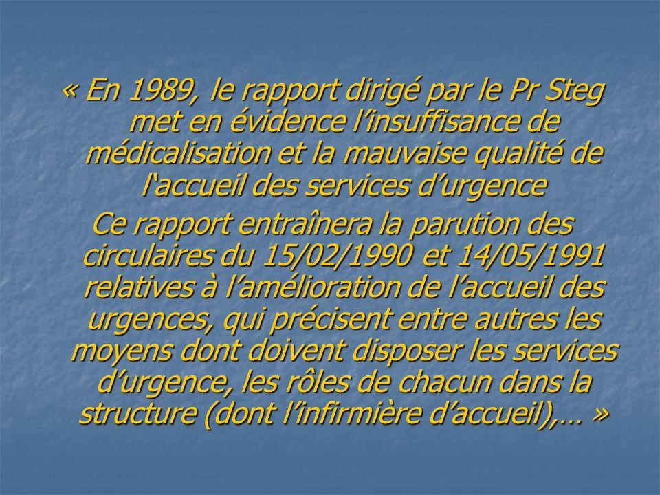 « En 1989, le rapport dirigé par le Pr Steg met en évidence l'insuffisance de médicalisation et la mauvaise qualité de l'accueil des services d'urgence