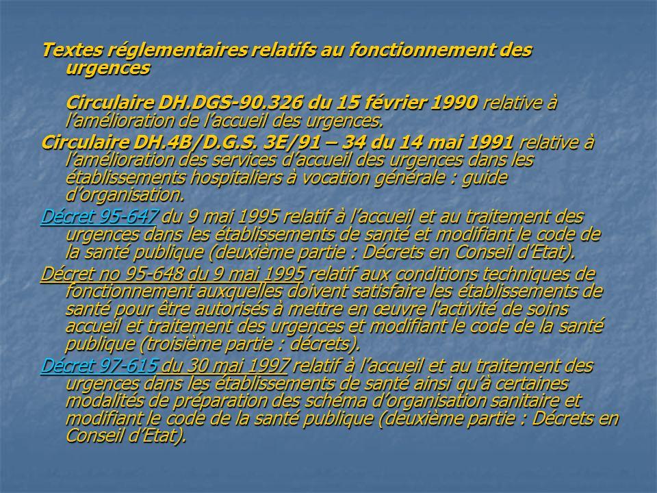 Textes réglementaires relatifs au fonctionnement des urgences Circulaire DH.DGS-90.326 du 15 février 1990 relative à l'amélioration de l'accueil des urgences.