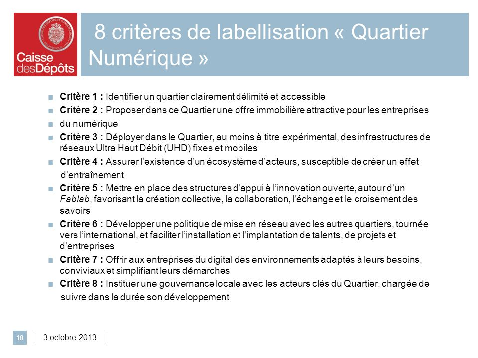 8 critères de labellisation « Quartier Numérique »