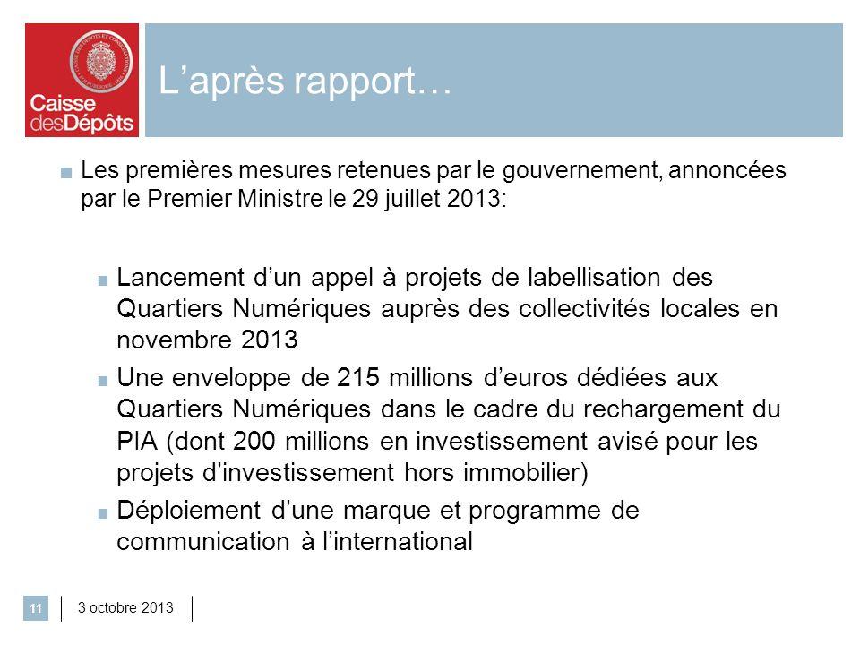 L'après rapport… Les premières mesures retenues par le gouvernement, annoncées par le Premier Ministre le 29 juillet 2013: