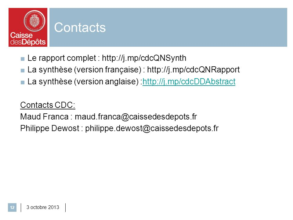 Contacts Le rapport complet : http://j.mp/cdcQNSynth