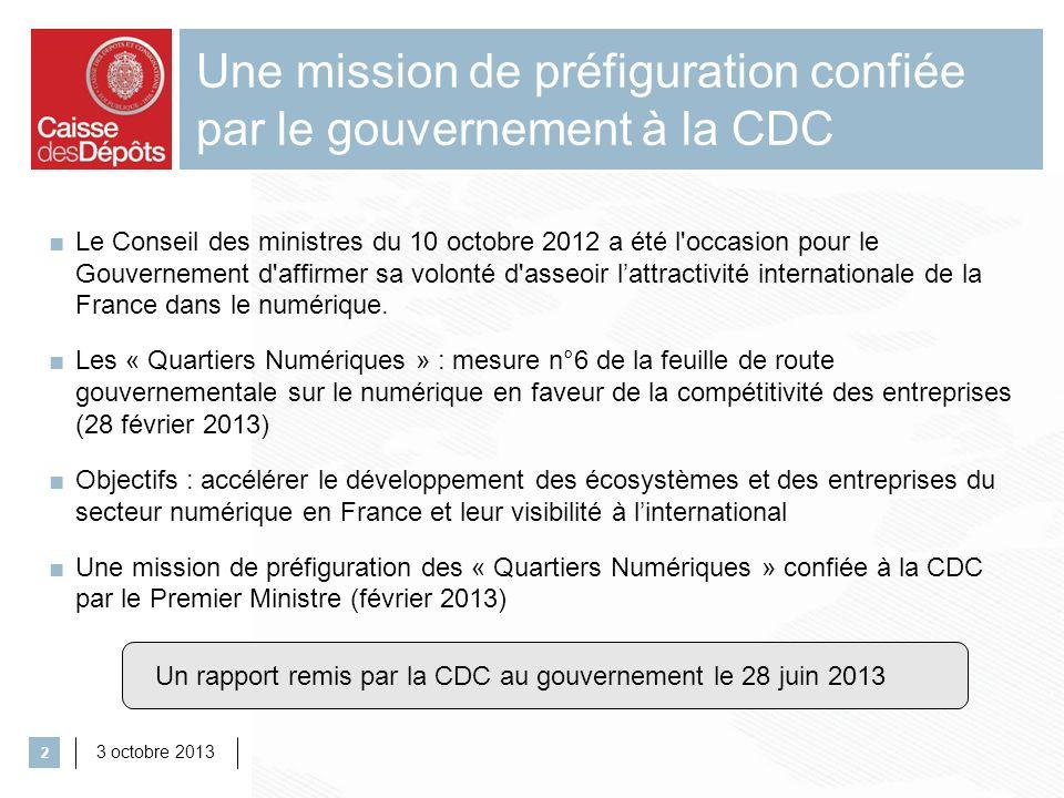 Une mission de préfiguration confiée par le gouvernement à la CDC