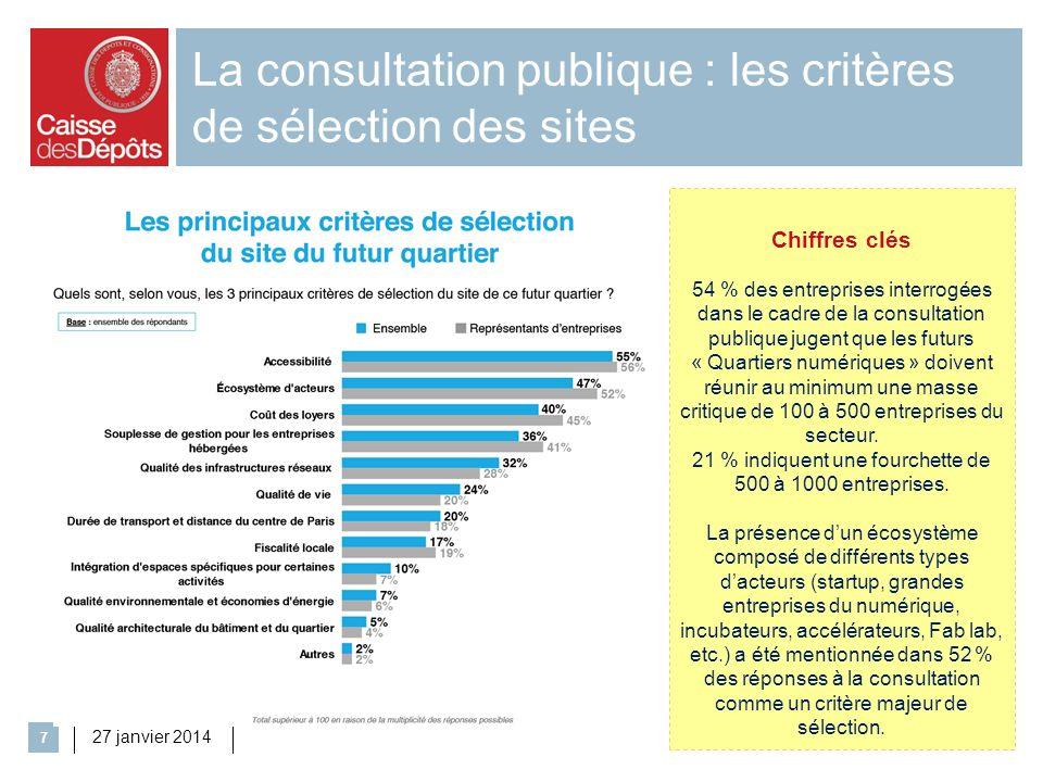 La consultation publique : les critères de sélection des sites