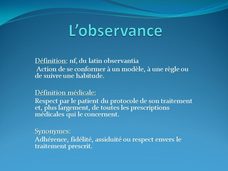 L'observance Définition: nf, du latin observantia