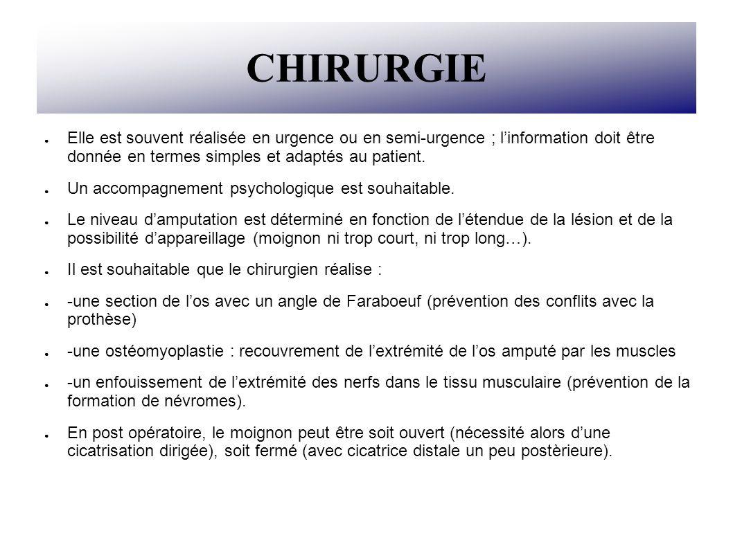 CHIRURGIE Elle est souvent réalisée en urgence ou en semi-urgence ; l'information doit être donnée en termes simples et adaptés au patient.
