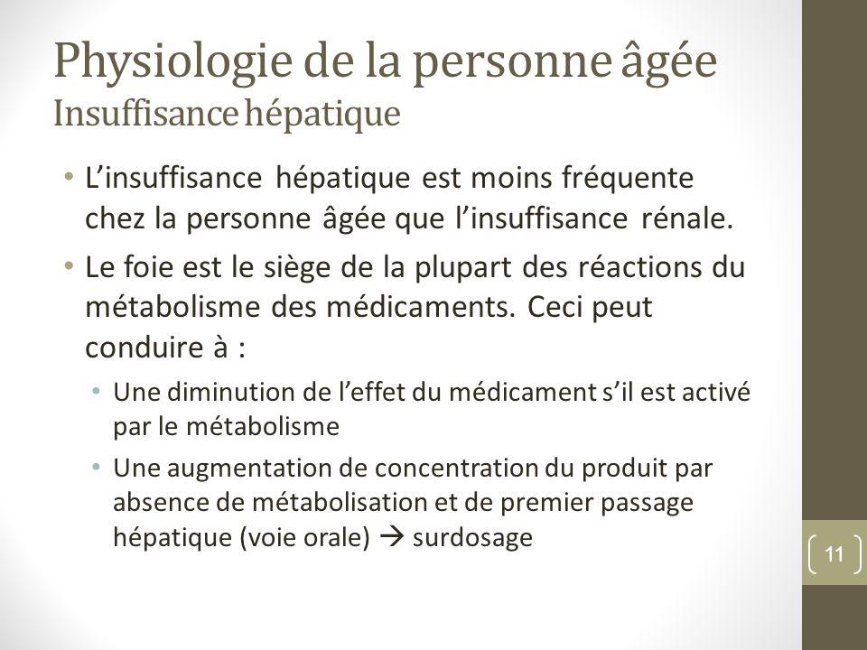 Physiologie de la personne âgée Insuffisance hépatique