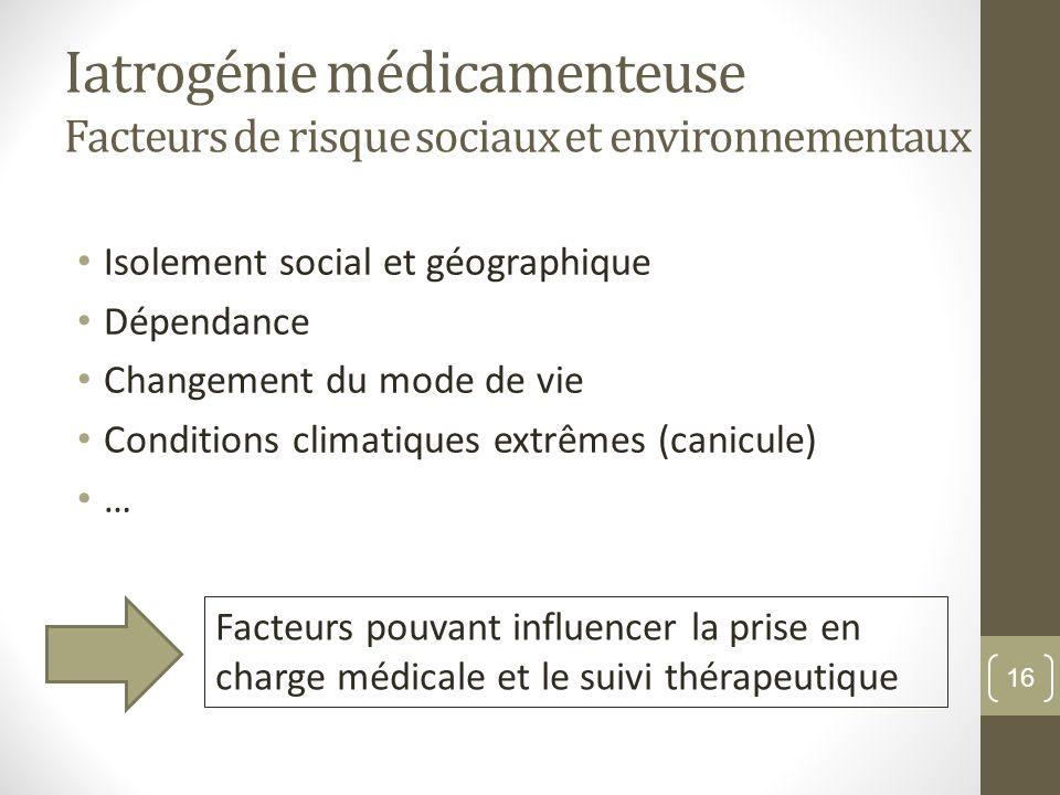 Iatrogénie médicamenteuse Facteurs de risque sociaux et environnementaux