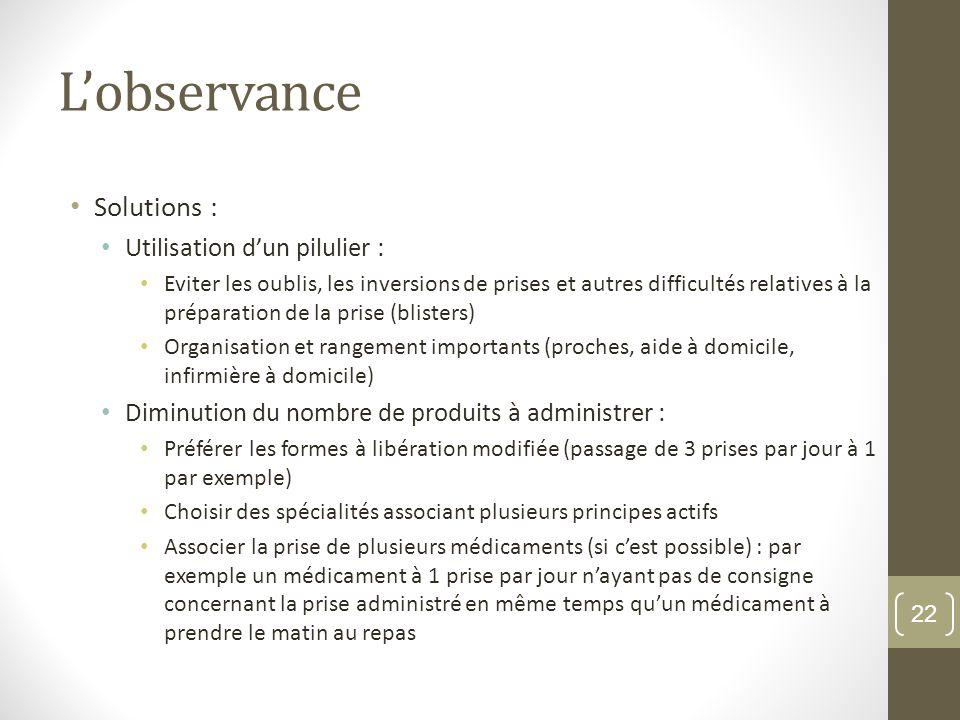 L'observance Solutions : Utilisation d'un pilulier :