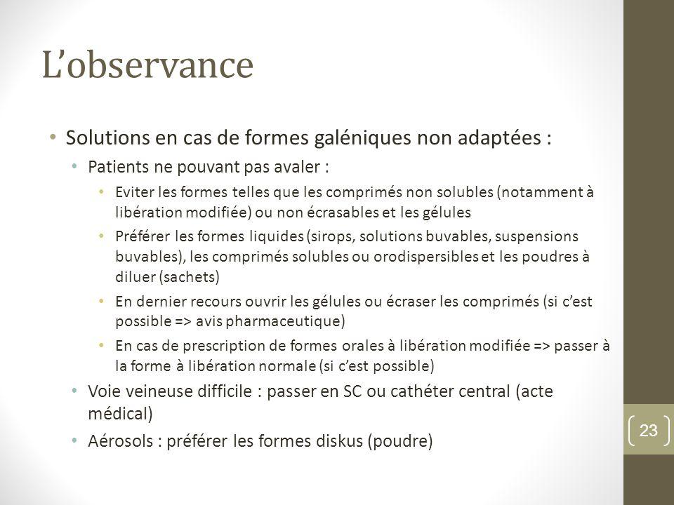 L'observance Solutions en cas de formes galéniques non adaptées :