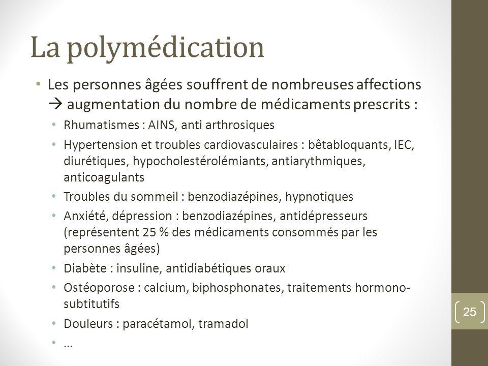 La polymédication Les personnes âgées souffrent de nombreuses affections  augmentation du nombre de médicaments prescrits :