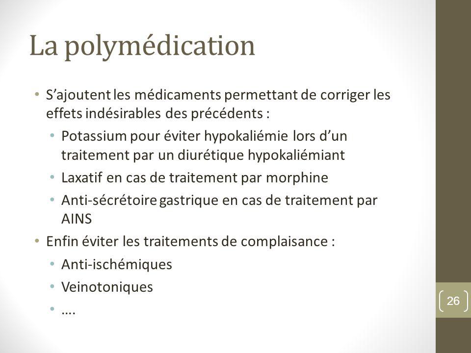 La polymédication S'ajoutent les médicaments permettant de corriger les effets indésirables des précédents :